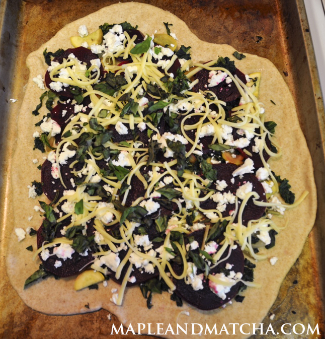 kale and beet pizza assembly