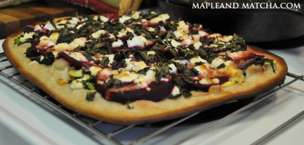 baked kale and beet pizza